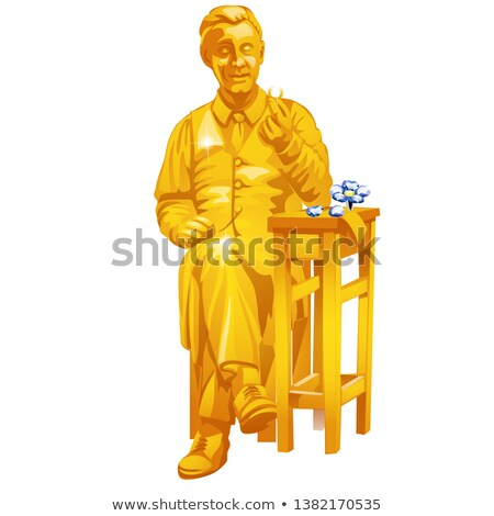 Golden statue of a jeweler holding a ring in his hand isolated on white background. Vector cartoon c Stock photo © Lady-Luck