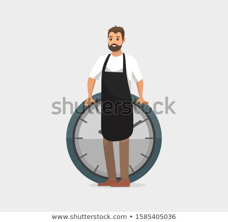 Homem relógio prazo de entrega trabalhador avental Foto stock © robuart