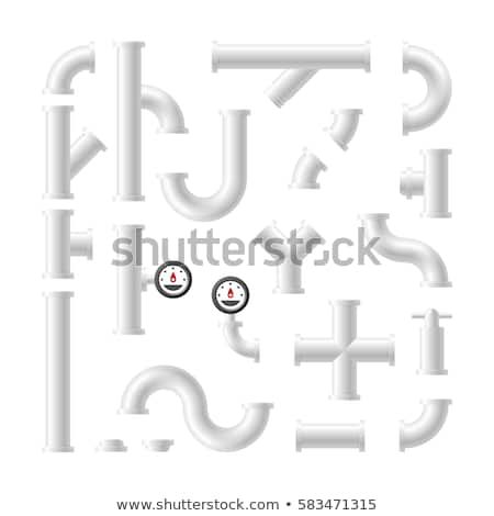 Set of 3D plastic pipes and connectors, vector illustration. Stock photo © kup1984