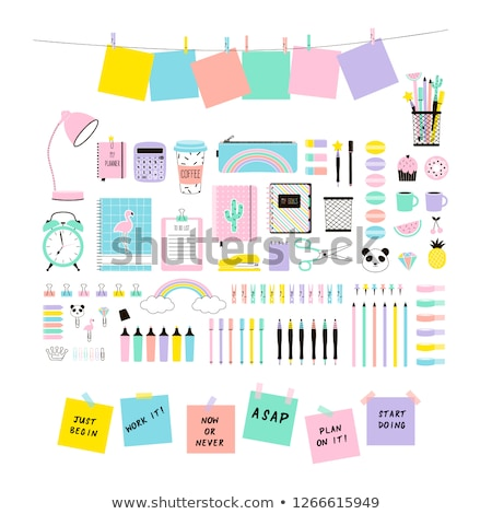 back to school design with pencils and sticky notes vector illustration with post it red pin supp stock photo © ikopylov