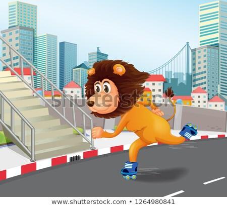 A lion roller skate in urban town Stock photo © colematt