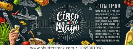 Kaktusz szombréró majonéz klasszikus eps 10 Stock fotó © limbi007