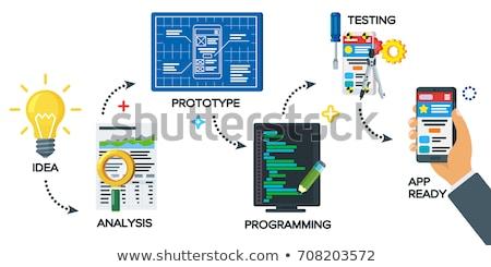 Termék tesztelés app interfész sablon fogyasztók Stock fotó © RAStudio