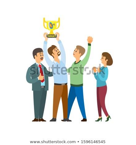 Trophée cible vecteur personnes célébrer Photo stock © robuart