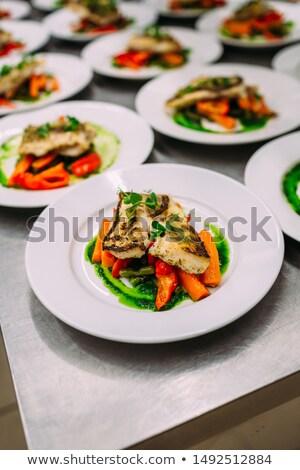 Sok tányérok előétel előkészített étterem konyha Stock fotó © grafvision