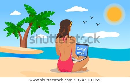 Distant Work, Girl Using Laptop on Beach Vector Stock photo © robuart