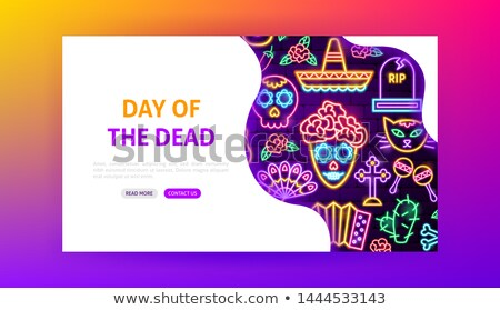 day of the dead neon landing page stock photo © anna_leni