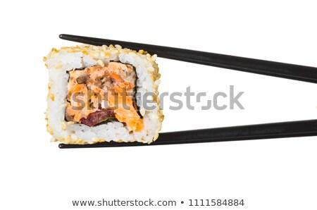 Sushi rulo beyaz yalıtılmış gıda peynir Stok fotoğraf © OleksandrO