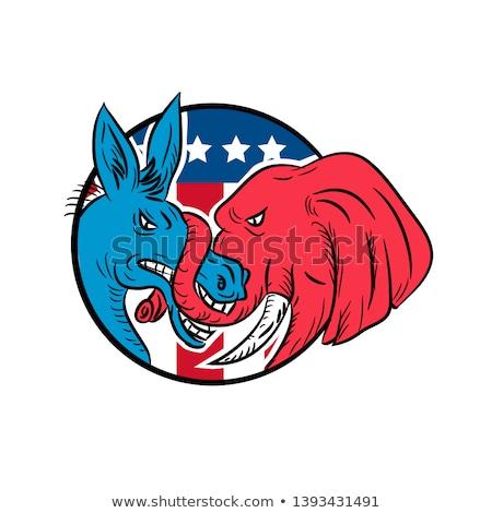 Donkey Biting Elephant Trunk American Flag Drawing Stock photo © patrimonio