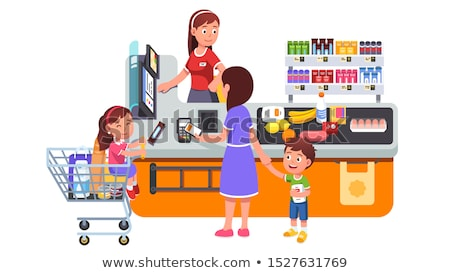 Family with Two Children Making Purchases Vector Stock photo © robuart
