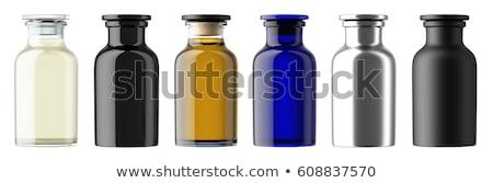 Niebieski szkła butelki perfum odizolowany ilustracja Zdjęcia stock © robuart