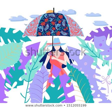 Las mujeres jóvenes paraguas decorado floral ornamento Foto stock © Margolana
