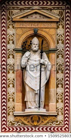 Stockfoto: Statue Of Saint Ambrose At Torre Del Filarete Of Sforzas Castle