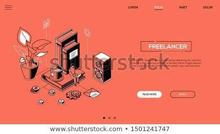 freelancer · isometrische · vector · man · werken · home - stockfoto © decorwithme