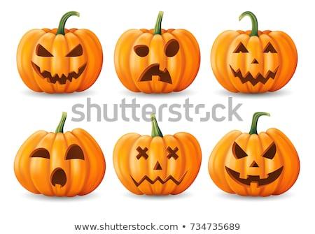 Stock fotó: Sütőtök · halloween · meglepetés · papír · levelek · ki