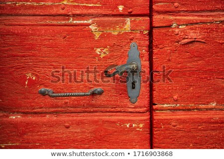Piros ajtó vasaló közelkép kilátás ajtók Stock fotó © bbbar