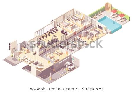vektor · izometrikus · hotel · részletes · ikon · épület - stock fotó © mark01987