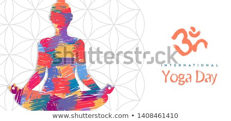 Yoga Day card of abstract art woman in lotus pose Stock photo © cienpies