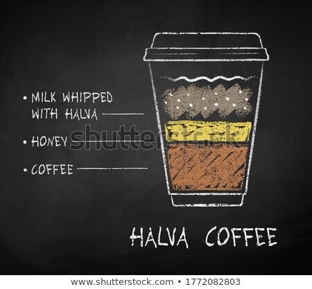 コーヒー · メニュー · 黒板 · セット · カップ · ドリンク - ストックフォト © sonya_illustrations
