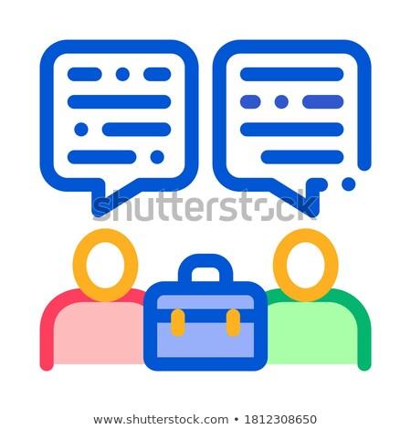Viel Gespräch zwei Geschäftsleute Symbol Vektor Stock foto © pikepicture