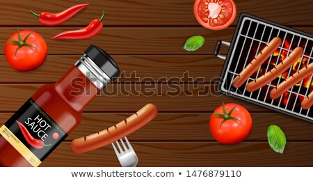 Bbq grill party Vector realistic. Vertical menu brochure templat Stock photo © frimufilms