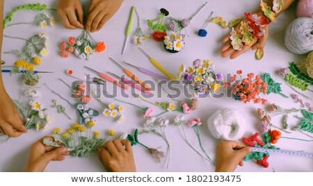 вязанье работу многие цветами хлопка иглы Сток-фото © ivonnewierink