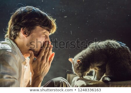 The man is allergic to a cat. A man sneezes due to the fact that next to a pet Stock photo © galitskaya