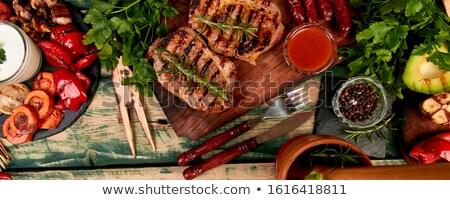 Szalag steak disznóhús grill fából készült vágódeszka Stock fotó © Illia