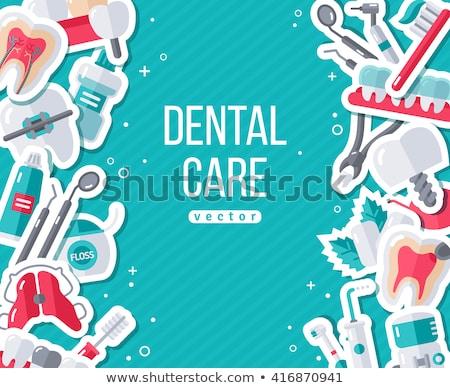Fogorvos fogak fogszabályozó vektor felirat ikon Stock fotó © pikepicture