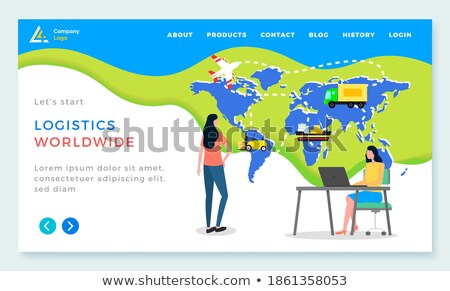 Stock foto: Weltweit · Logistik · Frau · Überwachung · Transport · Vektor
