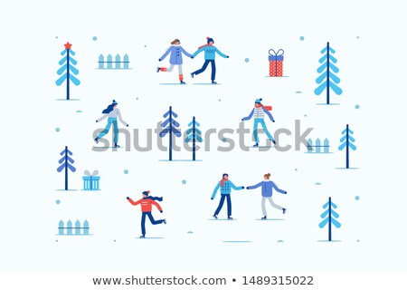 Guy Skating on Rink in City Park, Winter Holidays Stock photo © robuart
