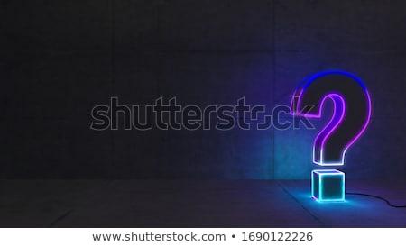 неоновых вопросительный знак конкретные стены 3D Сток-фото © sedatseven