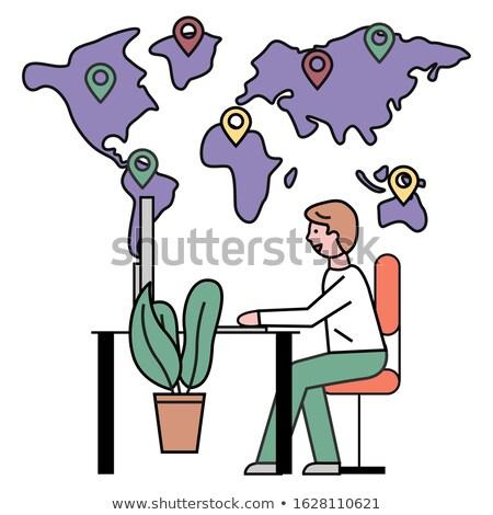 Hombre de trabajo oficina agencia de viajes tierra mapa Foto stock © robuart
