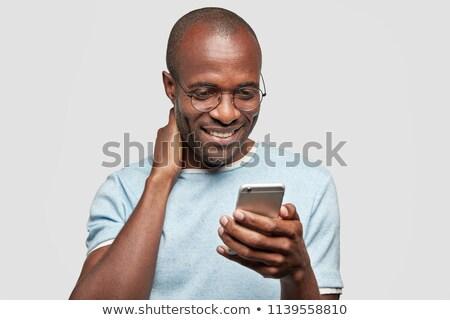 Afbeelding aantrekkelijk kaal afro-amerikaanse man Stockfoto © deandrobot