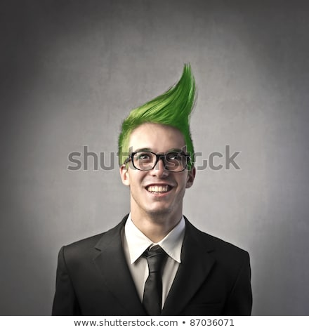 Crazy laughing businessman in glasses Stock photo © Giulio_Fornasar