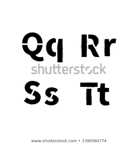 Realistic stencil font with dirty spray paint texture, Q R S T latin letters on white Stock photo © evgeny89