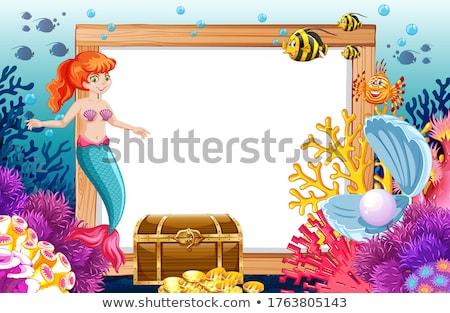 Zeemeermin zee dier banner cartoon stijl Stockfoto © bluering