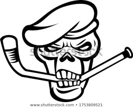 Сток-фото: Green Beret Commando Skull Biting An Ice Hockey Stick Mascot Black And White