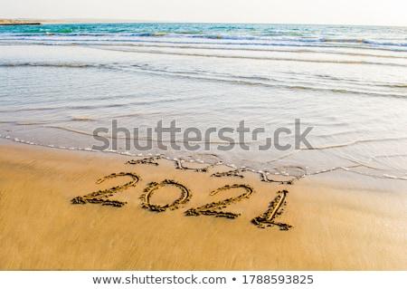 Areia forma praia peixe fora menina Foto stock © Arrxxx