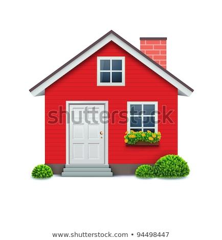 Czerwony mały komin dachu płytek domu Zdjęcia stock © Elenarts