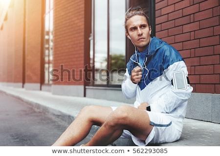 Férfi sportok ruházat háttér fut portré Stock fotó © photography33