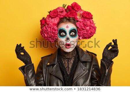 Młodych gothic kobieta żółty oczy czarny Zdjęcia stock © Elisanth