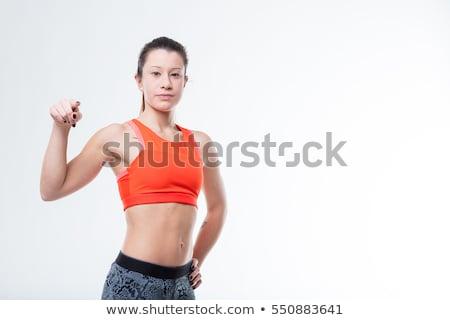 パーソナルトレーナー · ゴージャス · スリム · 小さな · フィットネス · ブルネット - ストックフォト © lithian