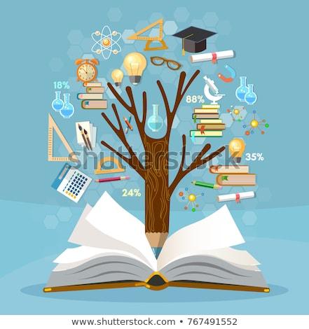 Oktatás fa illusztráció könyv iskola alma Stock fotó © pkdinkar