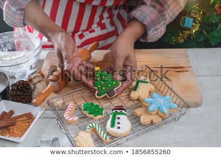 Decorated christmas cookies on the backing tray Stock photo © 3523studio