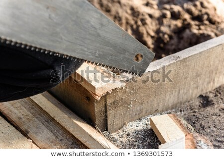 Carpenter using a handsaw Stock photo © photography33