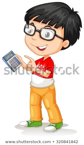 uśmiechnięty · młody · chłopak · Kalkulator · posiedzenia · klasie · książek - zdjęcia stock © stockyimages