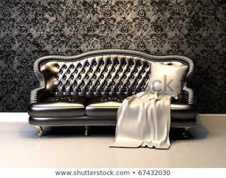 luxurious leather sofa with covering in interior with ornament stock photo © victoria_andreas