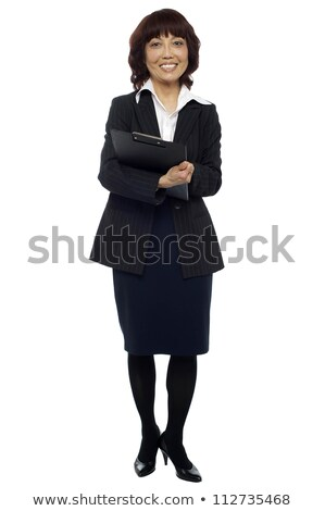positief · zakenvrouw · permanente · witte - stockfoto © stockyimages