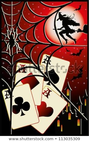 Poker halloween bannière coeur design nuit Photo stock © carodi